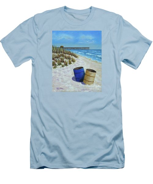Men's T-Shirt (Slim Fit) featuring the painting Spring Day On The Beach by Val Miller