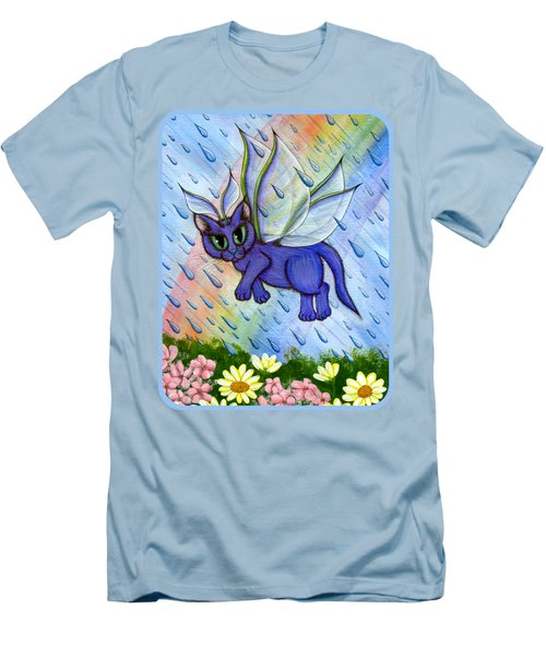 Spring Showers Fairy Cat Men's T-Shirt (Slim Fit) by Carrie Hawks