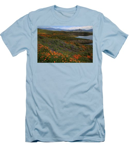 Men's T-Shirt (Slim Fit) featuring the photograph Spring Wildflowers At Diamond Lake In California by Jetson Nguyen
