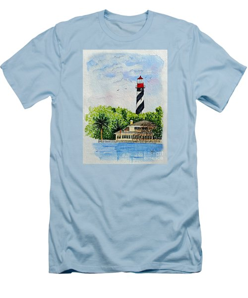 Men's T-Shirt (Slim Fit) featuring the painting St Augustine Lighthouse  by Terri Mills