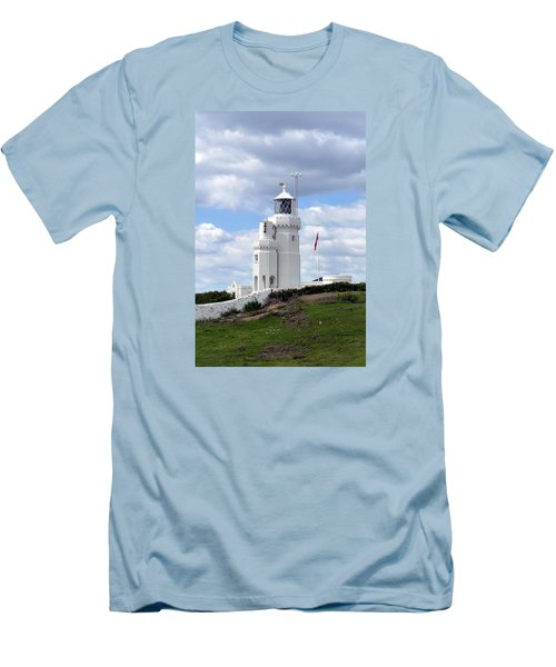 St. Catherine's Lighthouse On The Isle Of Wight Men's T-Shirt (Slim Fit) by Carla Parris