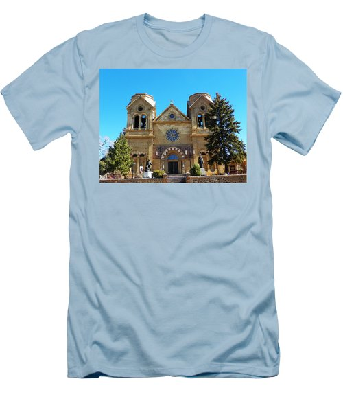 Men's T-Shirt (Slim Fit) featuring the photograph St. Francis Cathedral Santa Fe Nm by Joseph Frank Baraba