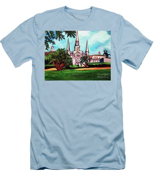 Men's T-Shirt (Slim Fit) featuring the painting St. Louis Catheral New Orleans Art by Ecinja Art Works