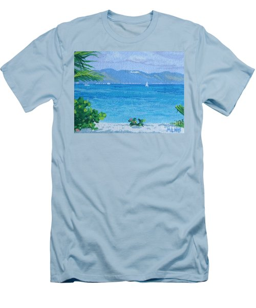 St Martin From Anguilla Men's T-Shirt (Slim Fit) by Margaret Brooks
