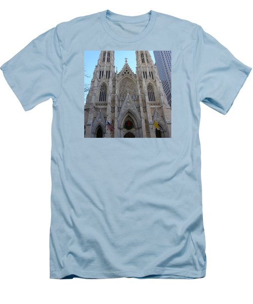 Men's T-Shirt (Slim Fit) featuring the photograph St Patrick's Cathedral, Nyc by Melinda Saminski