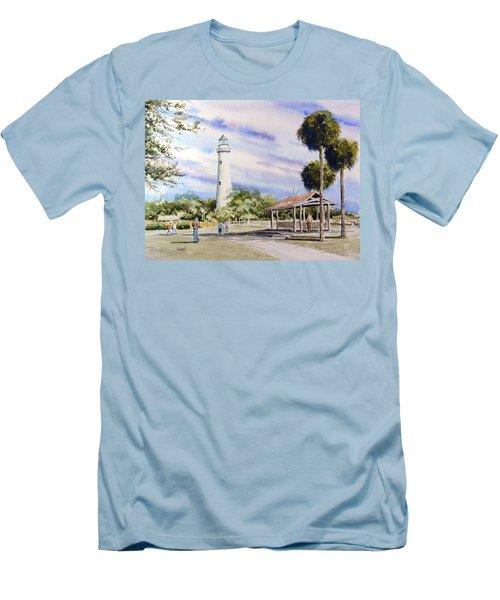 St. Simons Island Lighthouse Men's T-Shirt (Slim Fit) by Sam Sidders