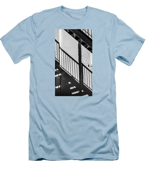 Men's T-Shirt (Slim Fit) featuring the photograph Stairs Railings And Shadows by Gary Slawsky