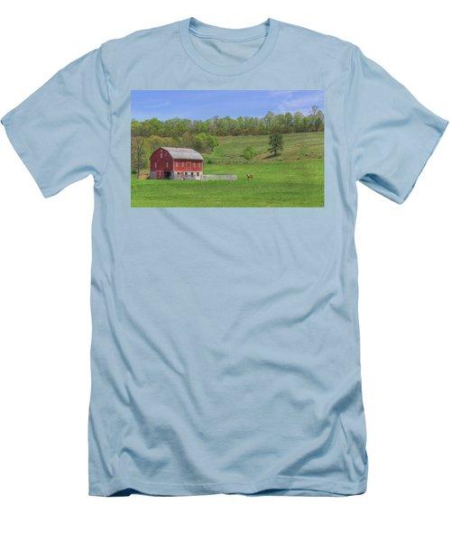 Men's T-Shirt (Slim Fit) featuring the digital art Star And Moon Barn by Sharon Batdorf