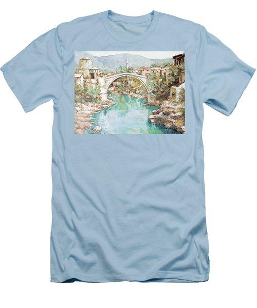 Men's T-Shirt (Slim Fit) featuring the photograph Stari Most Bridge Over The Neretva River In Mostar Bosnia Herzegovina by Joseph Hendrix