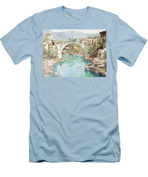 Stari Most Bridge Over The Neretva River In Mostar Bosnia Herzegovina Men's T-Shirt (Athletic Fit)