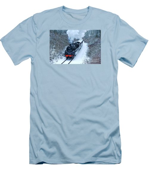 Steam Locomotive 73129 In Snow Men's T-Shirt (Athletic Fit)