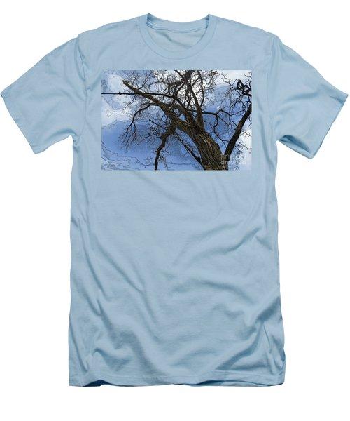Stormy Sky Blue Men's T-Shirt (Slim Fit) by Renie Rutten