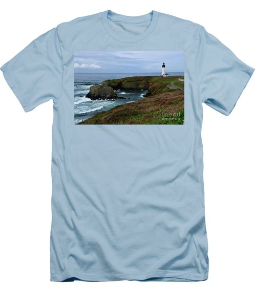 Stormy Yaquina Head Lighthouse Men's T-Shirt (Athletic Fit)