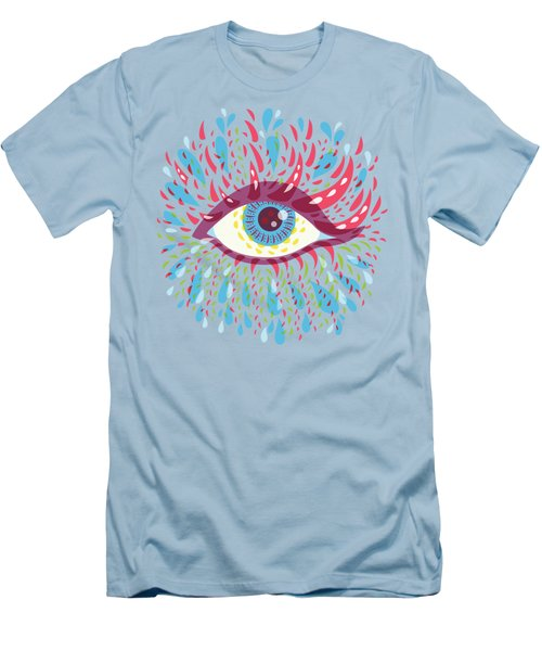 Strange Blue Psychedelic Eye Men's T-Shirt (Slim Fit) by Boriana Giormova