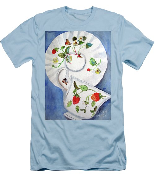Strawberry Cup And Saucer Men's T-Shirt (Slim Fit) by Sandy McIntire