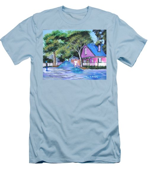 Street In St Augustine Men's T-Shirt (Slim Fit) by Luis F Rodriguez
