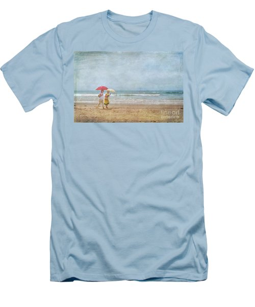 Men's T-Shirt (Slim Fit) featuring the photograph Strolling On The Beach by David Zanzinger