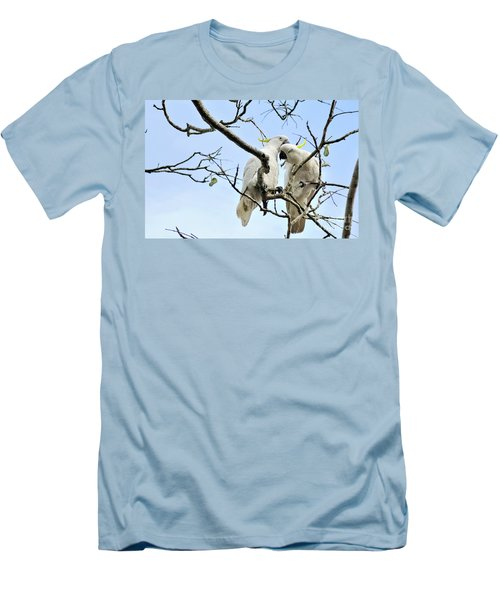 Sulphur Crested Cockatoos Men's T-Shirt (Slim Fit) by Kaye Menner