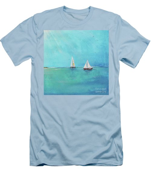 Men's T-Shirt (Slim Fit) featuring the painting Summer Breeze-e by Jean Plout