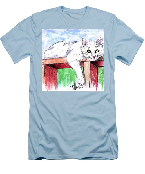 Summer Cat Men's T-Shirt (Slim Fit) by P J Lewis