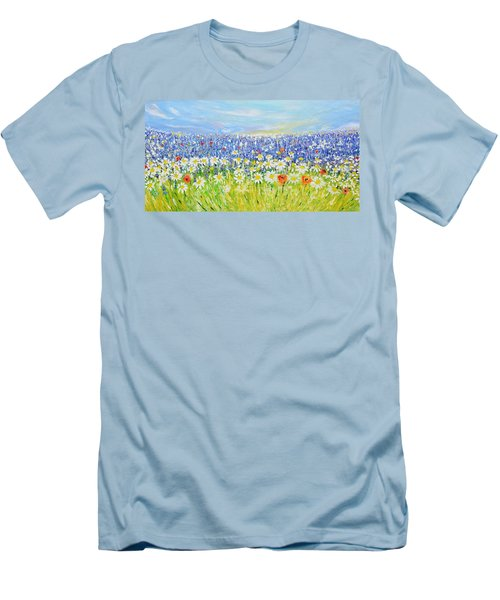 Men's T-Shirt (Slim Fit) featuring the painting Summer Field by Evelina Popilian