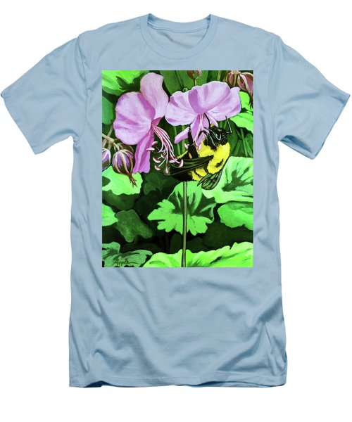 Summer Garden Bumblebee And Flowers Nature Painting Men's T-Shirt (Slim Fit) by Linda Apple