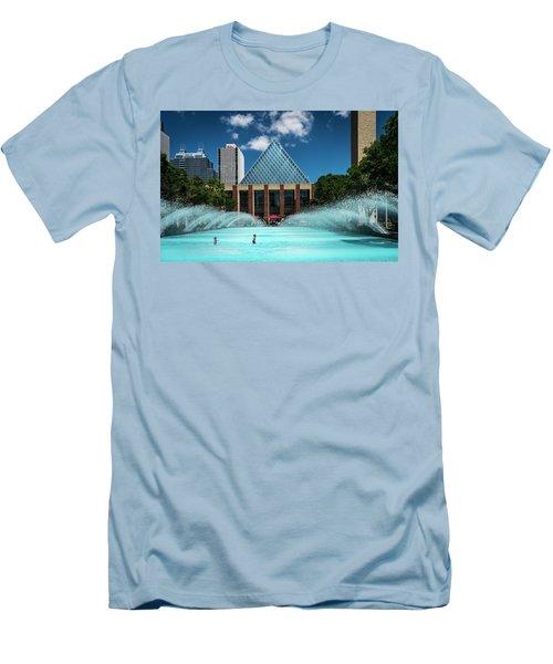 Men's T-Shirt (Slim Fit) featuring the photograph Summer Splash Downtown Edmonton by Darcy Michaelchuk