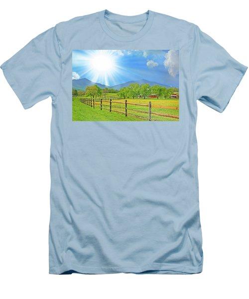 Sunburst Over Peaks Of Otter, Virginia Men's T-Shirt (Slim Fit) by The American Shutterbug Society