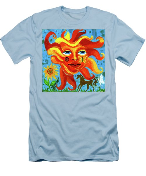 Men's T-Shirt (Slim Fit) featuring the painting Sunface With Butterfly And Horse by Genevieve Esson