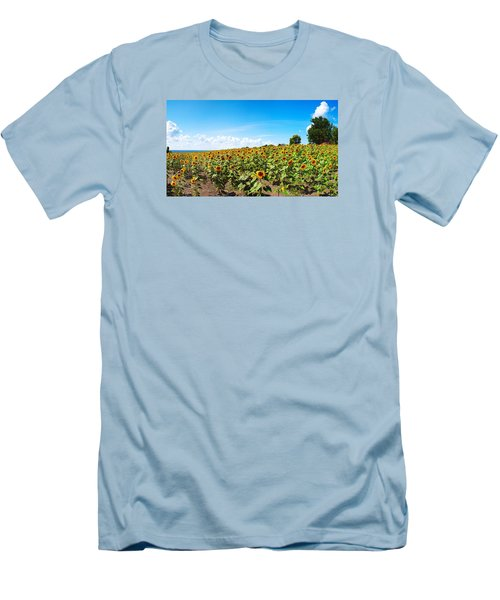 Men's T-Shirt (Slim Fit) featuring the photograph Sunflowers In Ithaca New York by Paul Ge