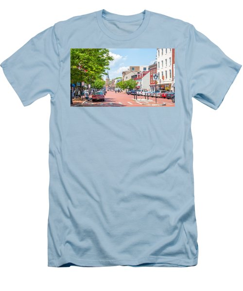 Men's T-Shirt (Athletic Fit) featuring the photograph Sunny Day On Main by Charles Kraus