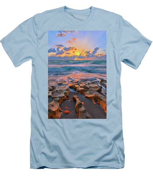 Sunrise Over Carlin Park In Jupiter Florida Men's T-Shirt (Slim Fit) by Justin Kelefas