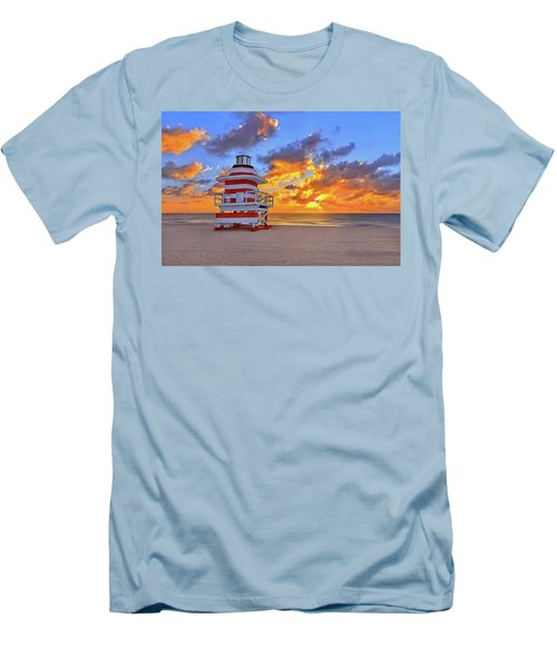 Sunrise Over Lifegaurd Stand On South Miami Beach  Men's T-Shirt (Slim Fit) by Justin Kelefas