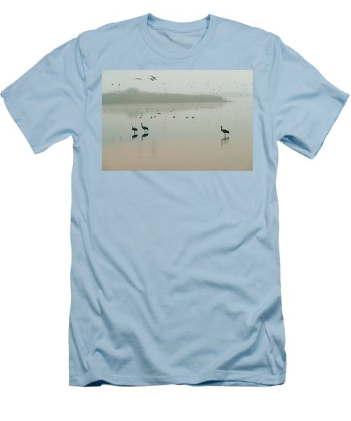 Men's T-Shirt (Slim Fit) featuring the photograph Sunrise Over The Hula Valley Israel 2 by Dubi Roman