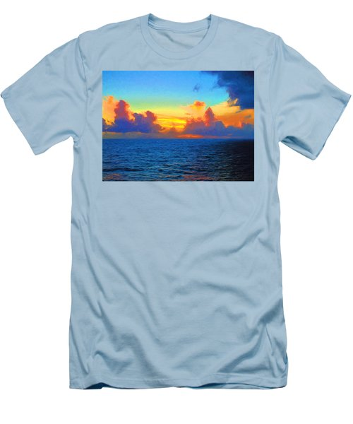 Sunset At Sea Men's T-Shirt (Slim Fit) by Greg Norrell