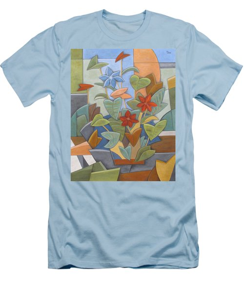 Sunset Flowerbed Men's T-Shirt (Slim Fit) by Trish Toro