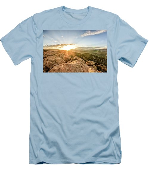 Men's T-Shirt (Slim Fit) featuring the photograph Sunset Over The Mountains Of Flaggstaff Road In Boulder, Colorad by Peter Ciro