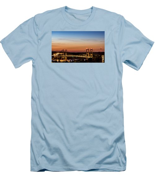 Sunset Over The Tacoma Narrows Bridges Men's T-Shirt (Slim Fit) by Rob Green