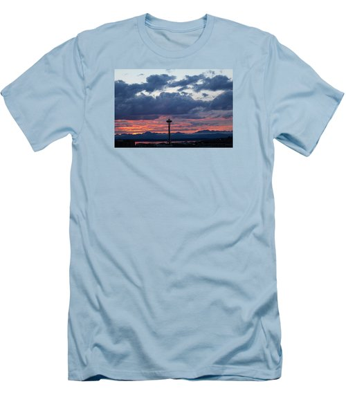 Sunset Red Clouds And Space Needle Men's T-Shirt (Slim Fit) by Suzanne Lorenz