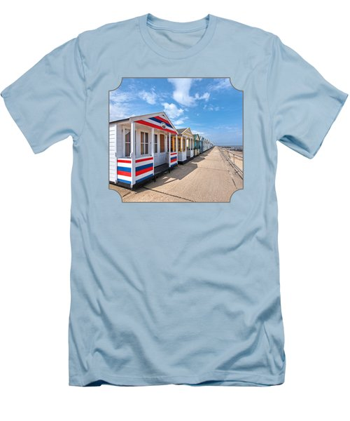 Surf's Up - Colorful Beach Huts - Square Men's T-Shirt (Athletic Fit)