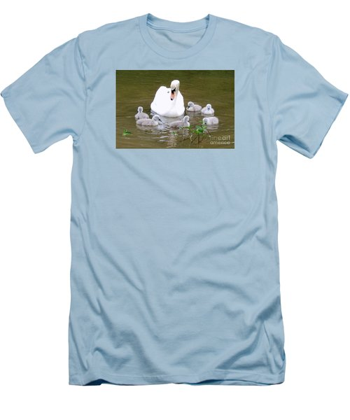 Men's T-Shirt (Slim Fit) featuring the photograph Swan Lake 1 by Bill Holkham