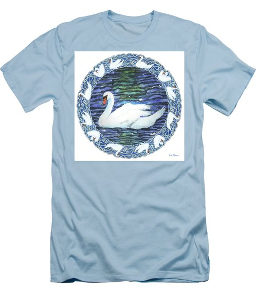 Swan With Knotted Border Men's T-Shirt (Slim Fit) by Lise Winne