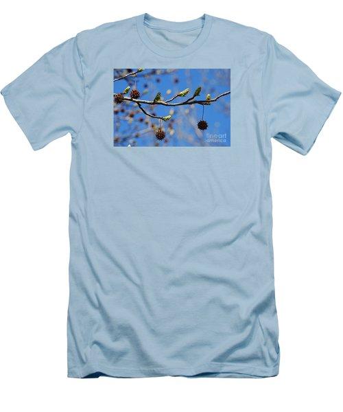 Sweet Gum Catkins 20120405_206a Men's T-Shirt (Slim Fit) by Tina Hopkins