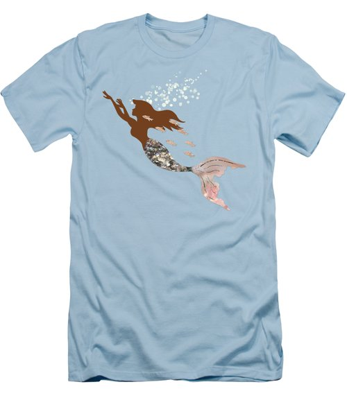 Swimming With The Fishes A Brown Mermaid Racing Rose Gold Fish Men's T-Shirt (Slim Fit) by Tina Lavoie