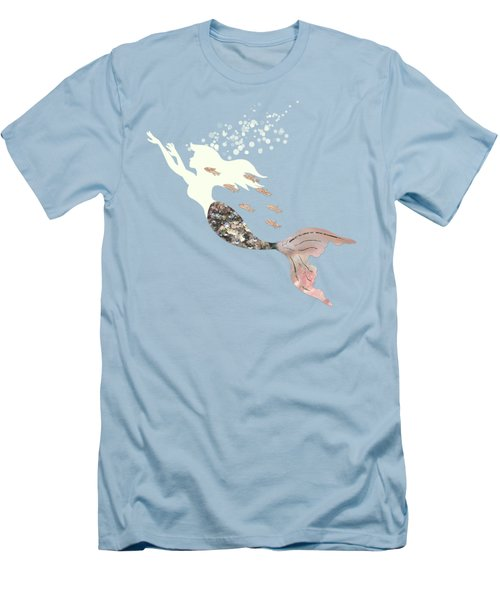 Swimming With The Fishes A White Mermaid Racing Rose Gold Fish Men's T-Shirt (Slim Fit) by Tina Lavoie