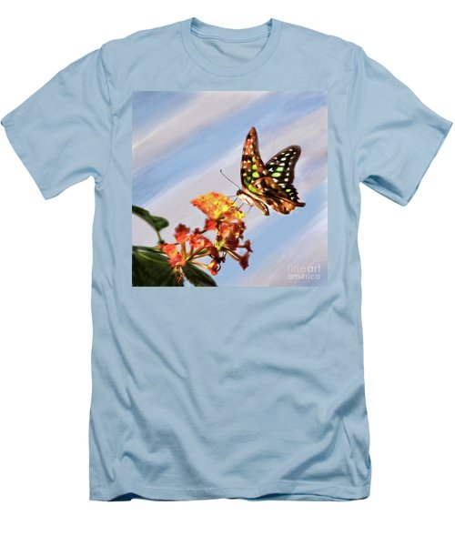 Tail Jay On Scarlet Milkweed Men's T-Shirt (Athletic Fit)