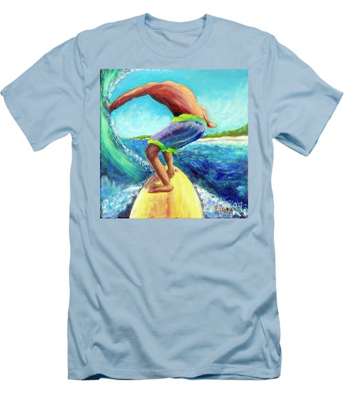 Men's T-Shirt (Slim Fit) featuring the painting Taking Off by Patricia Piffath