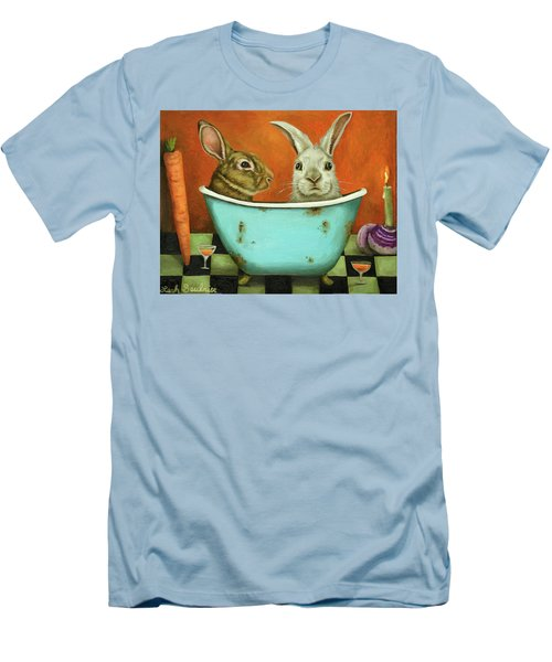 Tale Of Two Bunnies Men's T-Shirt (Slim Fit) by Leah Saulnier The Painting Maniac