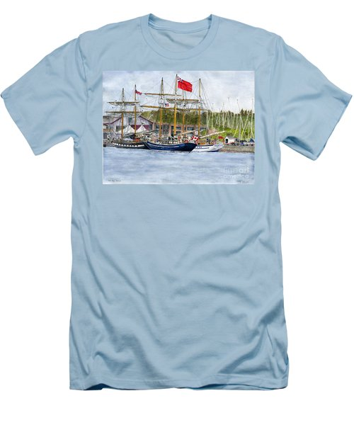 Men's T-Shirt (Slim Fit) featuring the painting Tall Ships Festival by Melly Terpening
