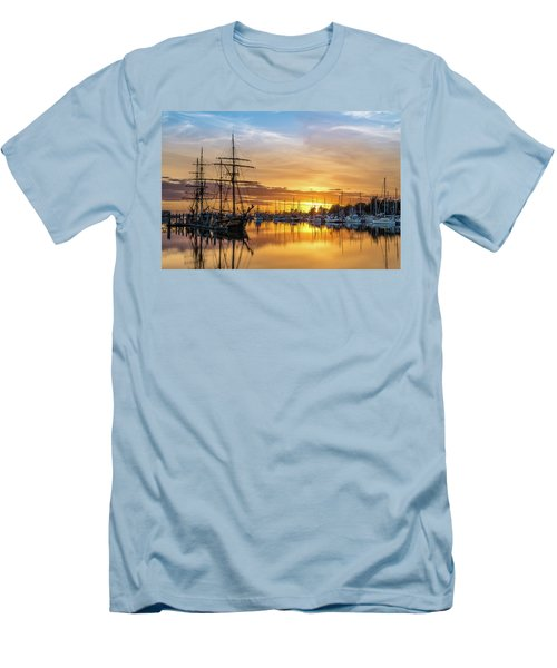 Tall Ships Sunset 1 Men's T-Shirt (Slim Fit) by Greg Nyquist